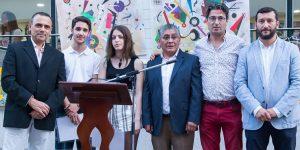Los ganadores de esta edición, junto a los organizadores del Premio y el alcalde de Rociana